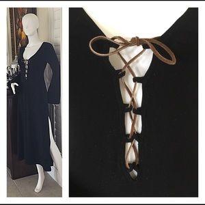 Victoria's Secret Black Bodycon Lace Up Midi Gown